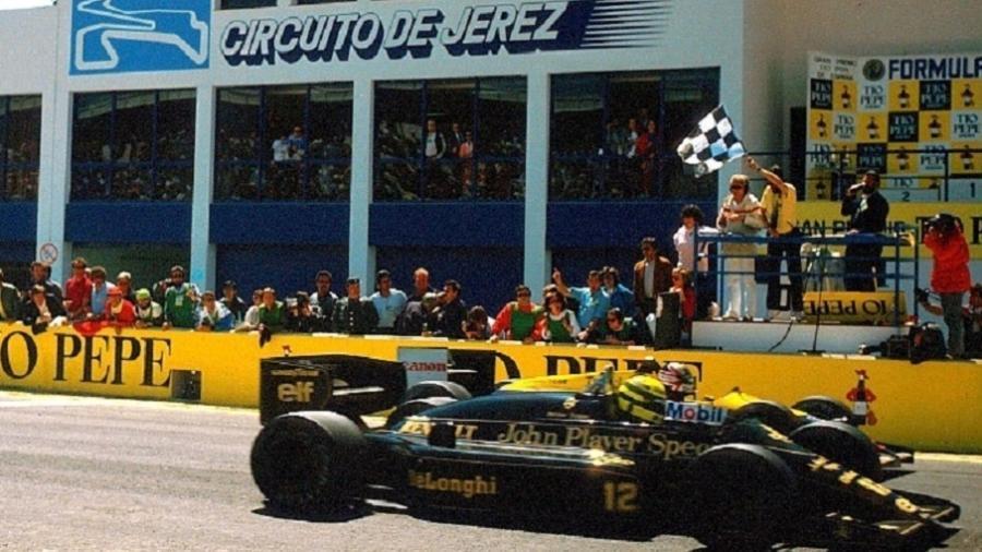 Chegada do GP da Espanha de 1986, com apenas 0s014 separando o vencedor, Ayrton Senna, de Nigel Mansell - Reprodução