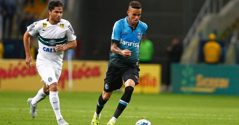 Luan protege a bola durante o confronto entre Grêmio e Coritiba