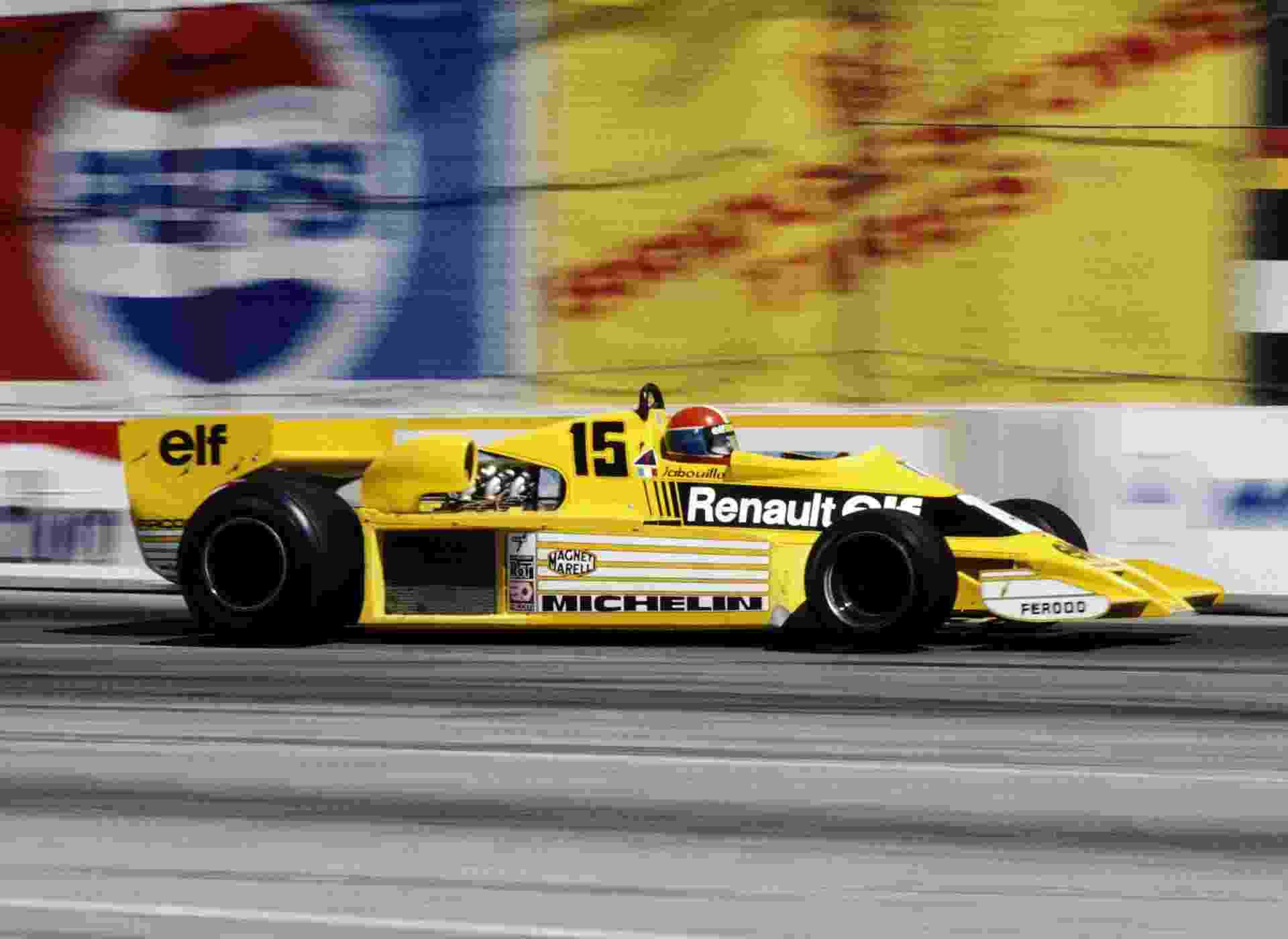 Jean-Pierre Jabouille no GP dos EUA de 78 com a Renault - Allsports/Getty Images