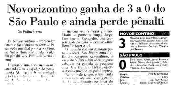Novorizontino bateu o bicampeão mundial São Paulo, de Telê - Reprodução/Acervo Folha