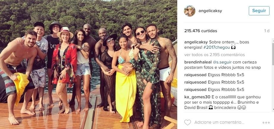 Neymar passou o ano novo com Angélica, Bruna Marquezine, Medinas e outras celebridades