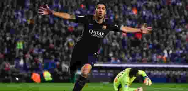 Suárez comemora gol marcado sobre o Espanyol - David Ramos/Getty Images - David Ramos/Getty Images