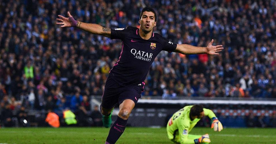 Suárez comemora gol marcado sobre o Espanyol