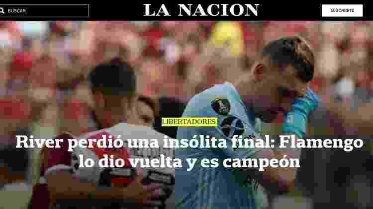 """""""La Nación"""" lamenta derrota do River e diz que Flamengo deu a volta por cima - Reprodução//lanacion.com.ar - Reprodução//lanacion.com.ar"""