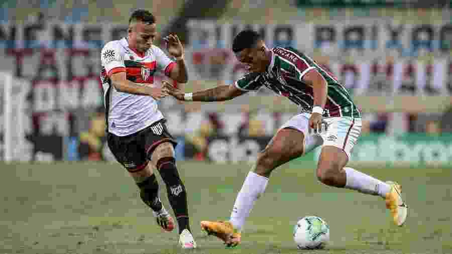 Marcos Paulo entrou no intervalo na vitória do Fluminense sobre o Atlético-GO na Copa do Brasil - Lucas Merçon/Fluminense FC