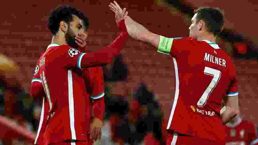 Salah comemora o gol da vitória do Liverpool contra o Midtjylland - PHIL NOBLE/AFP