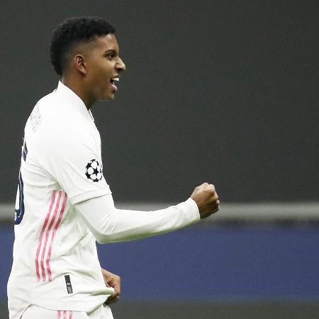 Rodrygo comemora gol marcado contra a Inter de Milão pela Liga dos Campeões - Alessandro Garofalo/Reuters
