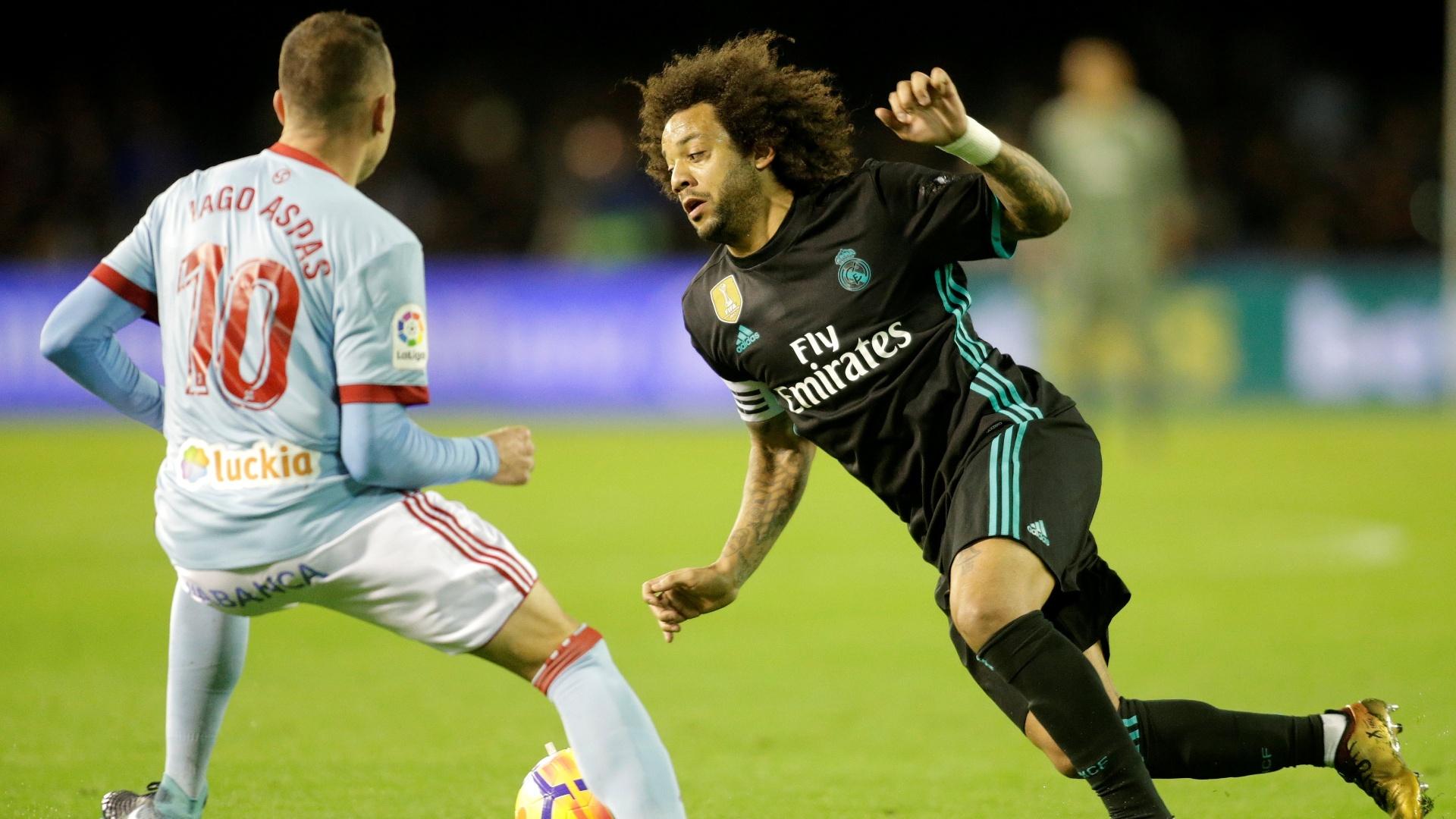 Marcelo encara a marcação de Iago Aspas no jogo entre Celta e Real Madrid