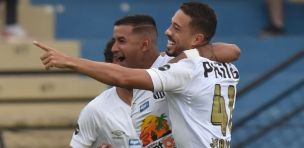 Jogadores do Santos comemoram gol contra o São Bento - Ivan Storti | Santos FC