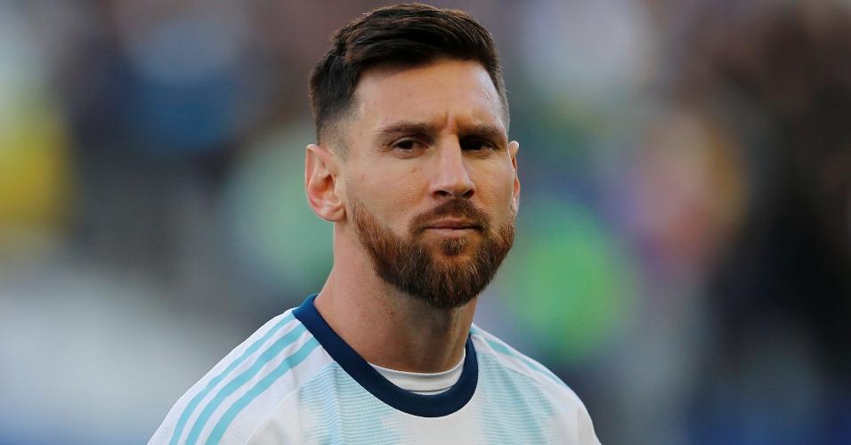 Lionel Messi, da Argentina, atua na partida contra o Chile, válida pela disputa de terceiro lugar da Copa América na Arena Corinthians