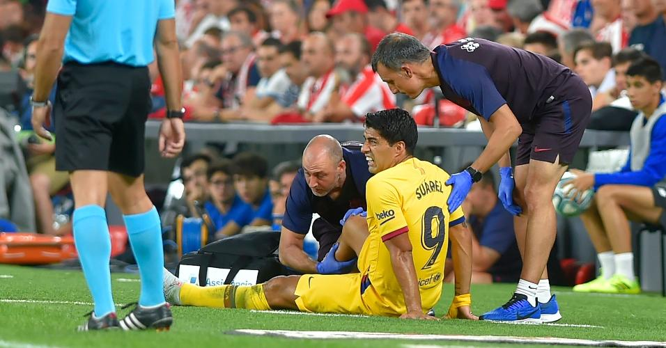 Luis Suárez sai lesionado da partida entre Athletic Bilbao x Barcelona
