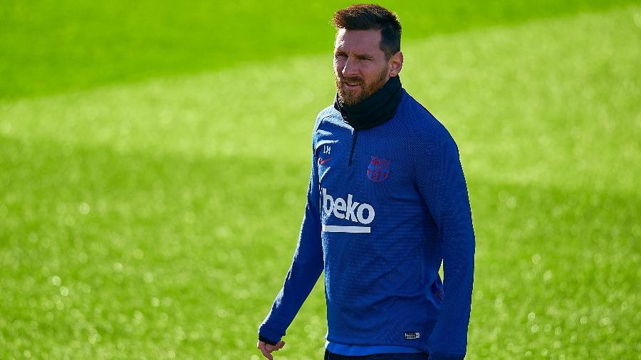 Lionel Messi em treinamento do Barcelona - Quality Sport Images/Getty Images
