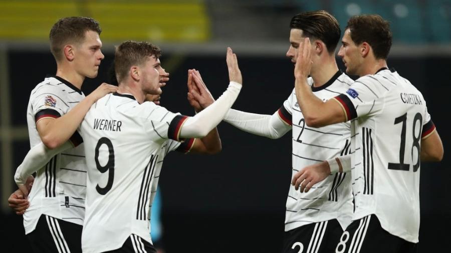 Timo Werner comemora gol da Alemanha contra a Ucrânia em jogo pela Liga das Nações - Maja Hitij/Getty Images