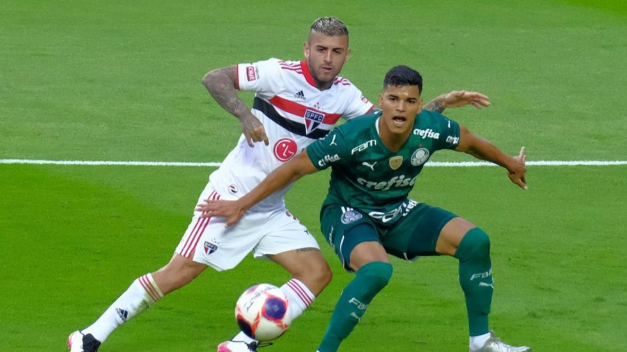 Lance do jogo entre São Paulo e Palmeiras, pela final do Paulista, no Morumbi - Marcello Zambrana/AGIF