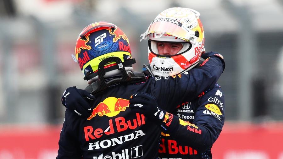 Max Verstappen e Sergio Perez, da Red Bull, respectivamente primeiro e terceiro colocados no GP da França - Joe Portlock/Getty Images