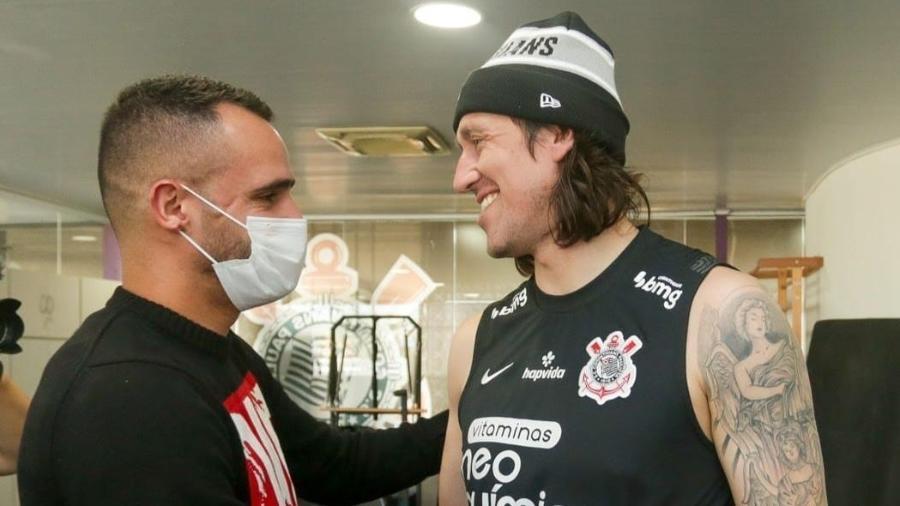 Renato Augusto e Cássio se reencontram no CT do Corinthians - Rodrigo Coca/Ag. Corinthians