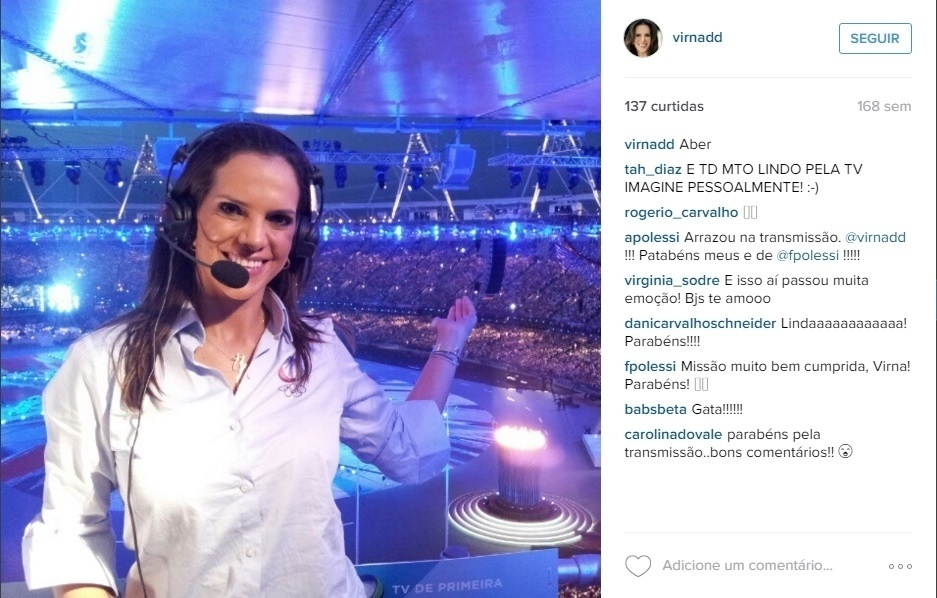 Virna foi comentarista também na Olimpíada de Londres, em 2012, quando foi contratada pela Rede Record
