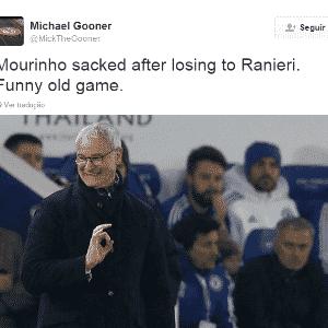 Ranieri foi o técnico que perdeu o posto para Mourinho voltar ao posto. Agora no Leicester, lidera o Inglês e venceu o Chelsea por 2 a 1, último jogo do português no comando da equipe - Reprodução / Twitter