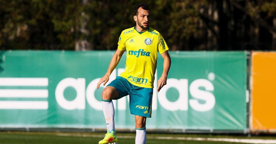 O zagueiro Edu Dracena durante treino do Palmeiras