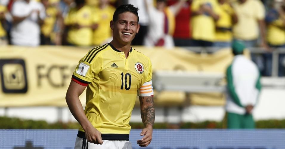 James Rodriguez, meia e capitão da Colômbia, comemora gol marcado contra a Venezuela