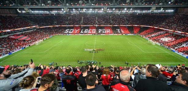Vista da Arena da Baixada; estádio do Atlético-PR faz cadastro biométrico de torcedores