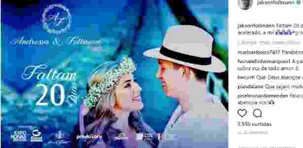 Jackson Follmann vai se casar com Andressa em Chapecó - Reprodução/Instagram - Reprodução/Instagram