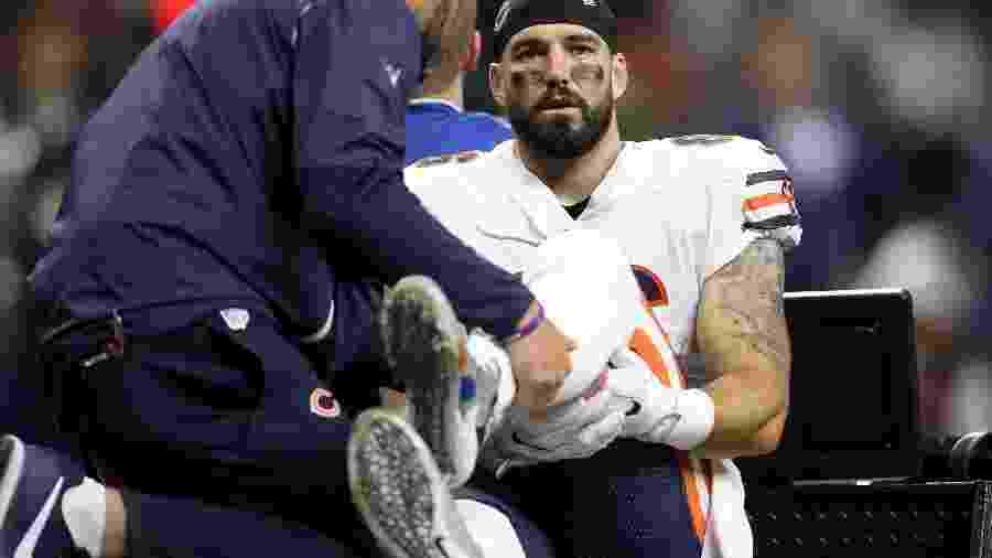 Zach Miller, jogador do Chicago Bears, sofreu grave lesão na perna - AFP PHOTO / GETTY IMAGES NORTH AMERICA / Chris Graythen