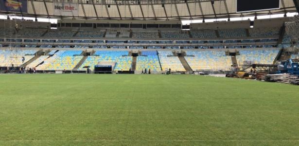 Maracanã já está sem as placas usadas para cobrir o campo  - Divulgação
