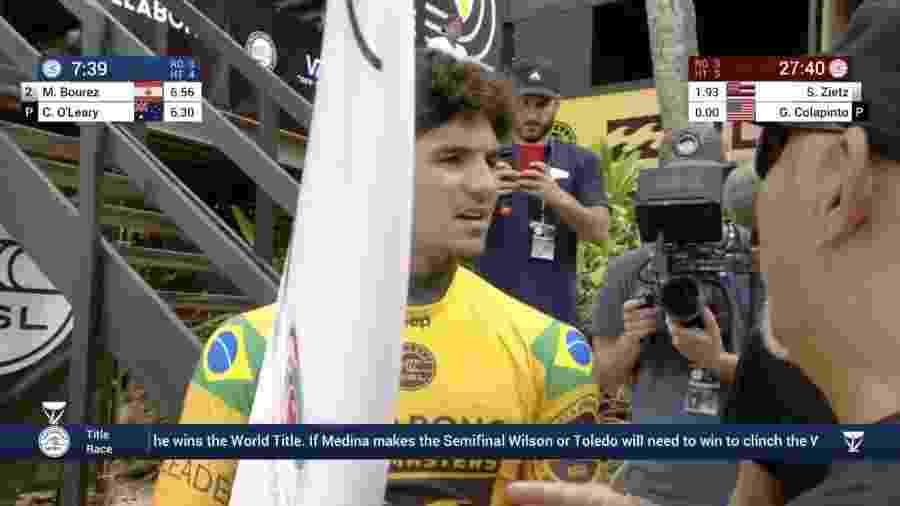 Gabriel Medina, antes de bateria no round 3 em Pipeline - Reprodução/WSL