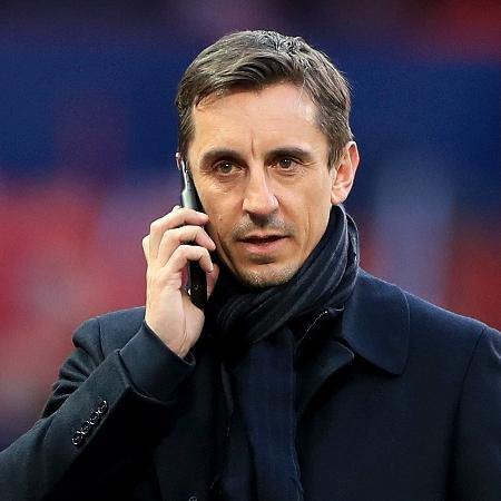 Gary Neville, ídolo do Manchester United, durante jogo contra Barcelona - Mike Egerton/EMPICS/PA Images via Getty Images