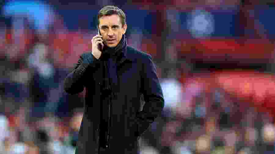 Gary Neville, ídolo do Manchester United, durante jogo contra Barcelona - Mike Egerton/EMPICS/PA Images via Getty Images