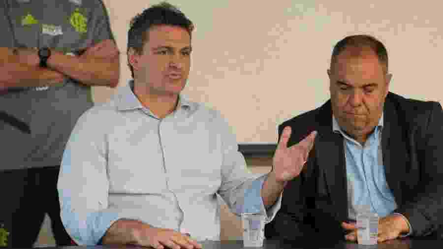Bruno Spindel, novo diretor de futebol do Flamengo, ao lado de Marcos Braz, vice de futebol - Foto:Alexandre Vidal / Flamengo