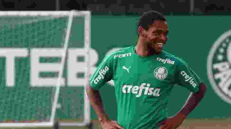 Luiz Adriano sorri durante treinamento do Palmeiras - Reprodução/Youtube TV Palmeiras