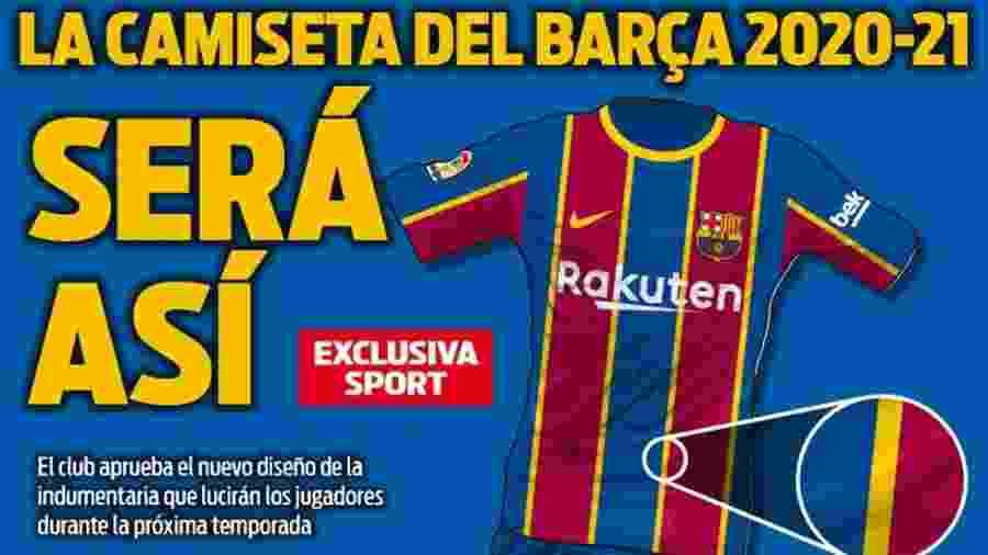 Jornal espanhol divulga como deve ser nova camisa do Barcelona - Reprodução/Sport