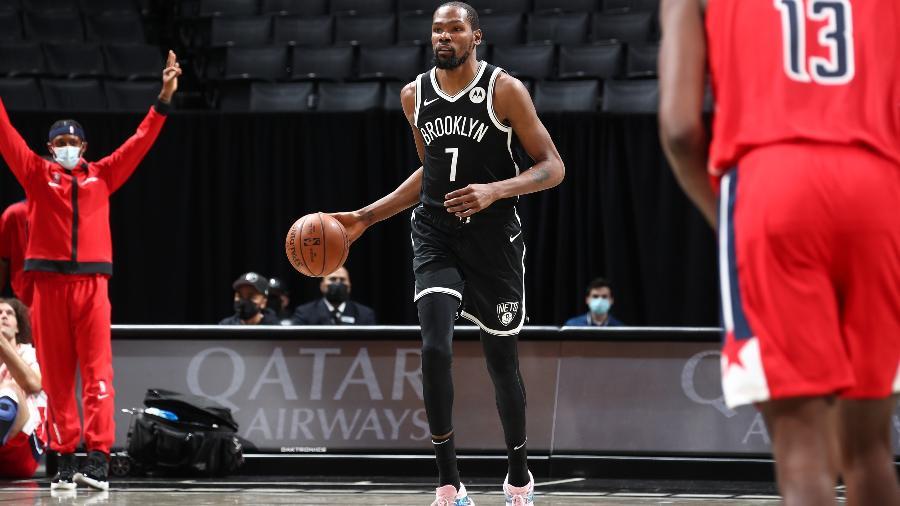 Kevin Durant fez primeiro jogo pelo Brooklyn Nets, na pré-temporada da NBA - NBAE via Getty Images