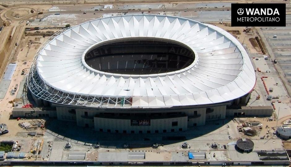 Fase final de construção do estádio Wanda Metropolitano, nova casa do Atlético de Madri