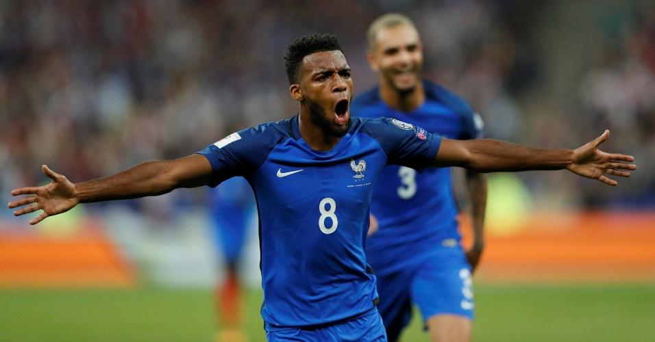 Lemar comemora gol marcado para a França contra a Holanda