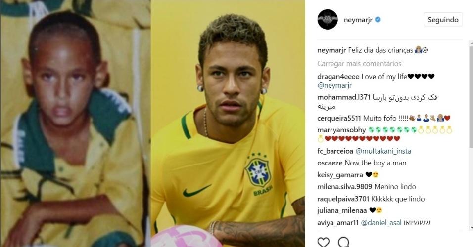 Neymar postou uma foto de quando ainda era um jovem jogador ao lado do já famoso astro da seleção brasileira de hoje