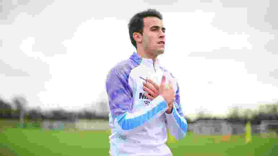 Eric Garcia, durante treino do Manchester City - Tom Flathers/Manchester City FC via Getty Images