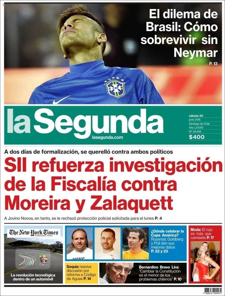 Jornal chileno La Segunda questiona 'o dilema do Brasil': como sobreviver sem Neymar?