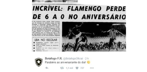 A provocação do Botafogo ao Flamengo