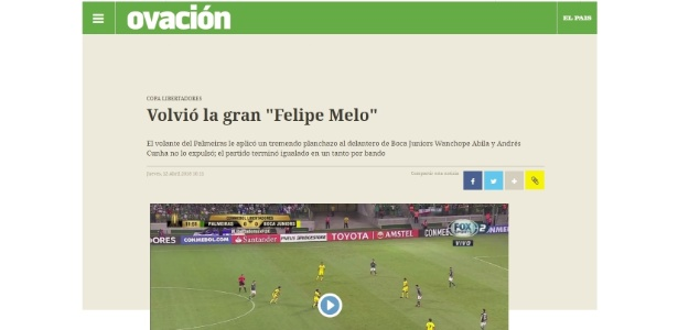 Felipe Melo recebeu críticas de jornal uruguaio