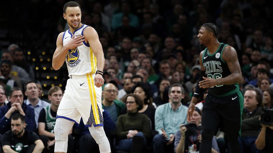 Stephen Curry chegou a 200 cestas de três pela sétima temporada seguida - Winslow Townson/USA TODAY Sports