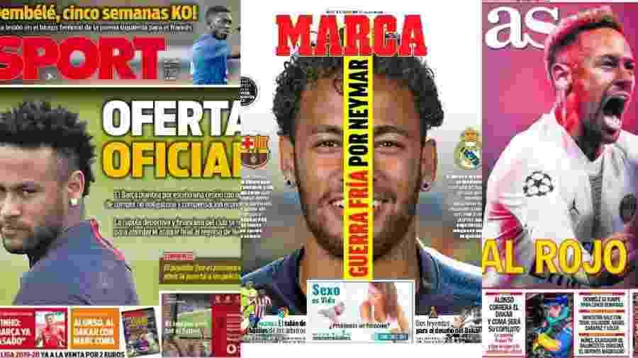 """Neymar estampa capas dos jornais """"Sport"""", """"Marca"""" e """"AS"""" - reprodução"""