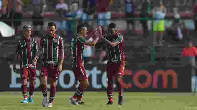 Luccas Claro, do Fluminense, comemora seu segundo gol contra o Bangu - Thiago Ribeiro/AGIF - Thiago Ribeiro/AGIF