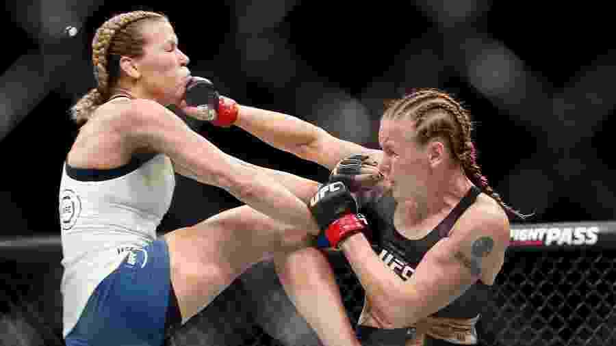 Valentina Shevchenko acerta soco em Katlyn Chookagian, no UFC 247 - Thomas Shea/USA TODAY Sports