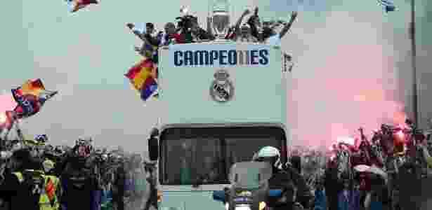 Jogadores do Real Madrid comemoraram o 11º título do time na Liga dos Campeões - JAVIER SORIANO/AFP