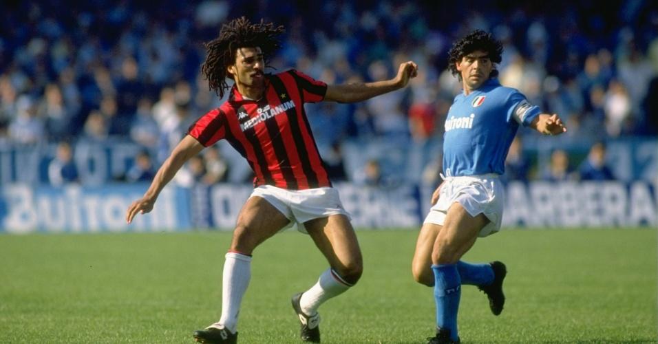 Gullit e Maradona, os craques de Milan e Napoli no final dos anos 80
