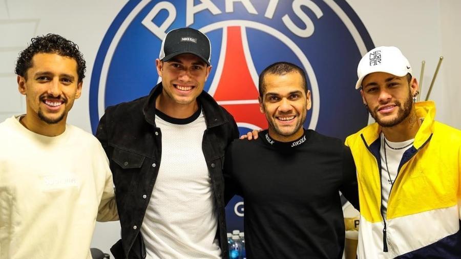 Thiago Braz conhece CT do PSG na companhia de Marquinhos, Daniel Alves e NeymaR - Reprodução/Instagram