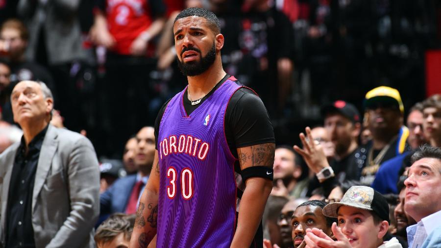 Rapper Drake assiste à primeira partida das finais da NBA